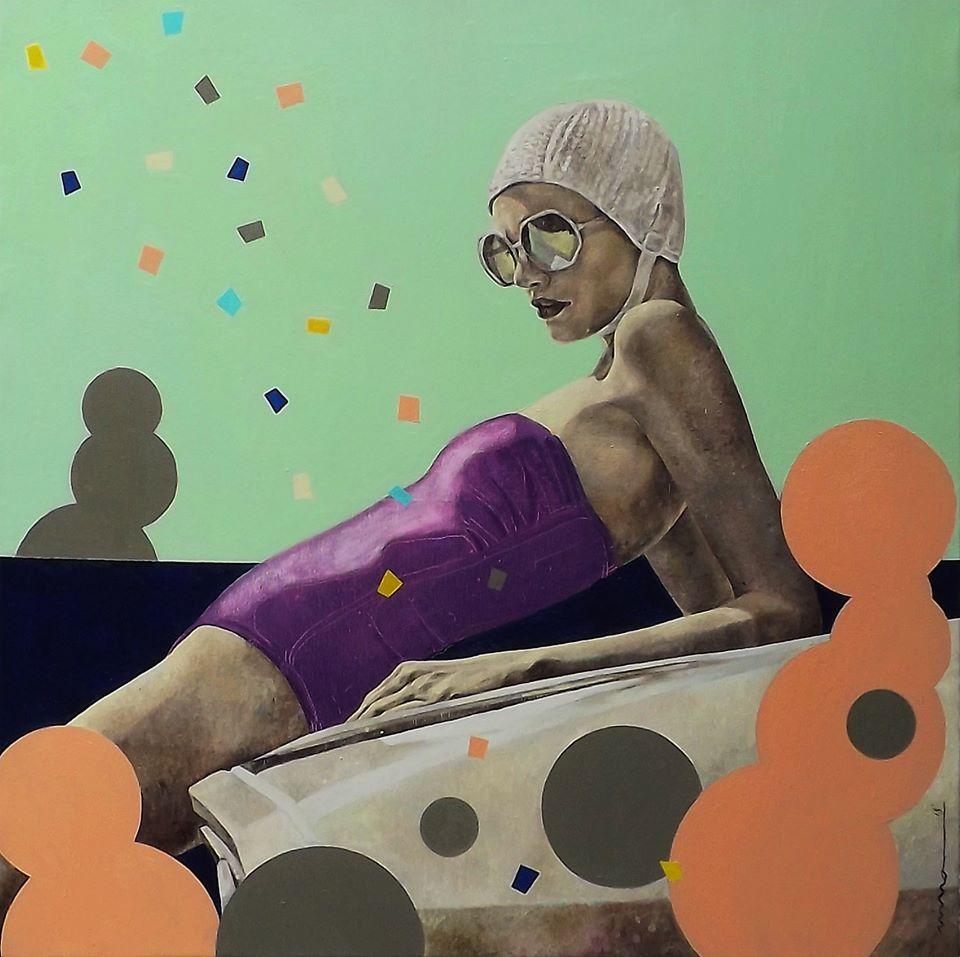 Petrova_Woman in St. Tropez_Öl auf Leinwand_80x80 cm