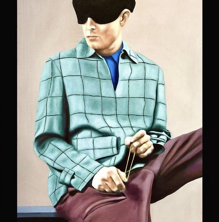 Aragall_Lady Rabbit´s insecure husband, Öl auf Karton, 40x50 cm