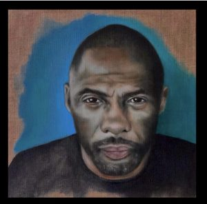 Idris Elba, Öl auf Leinwand, 30x30 cm