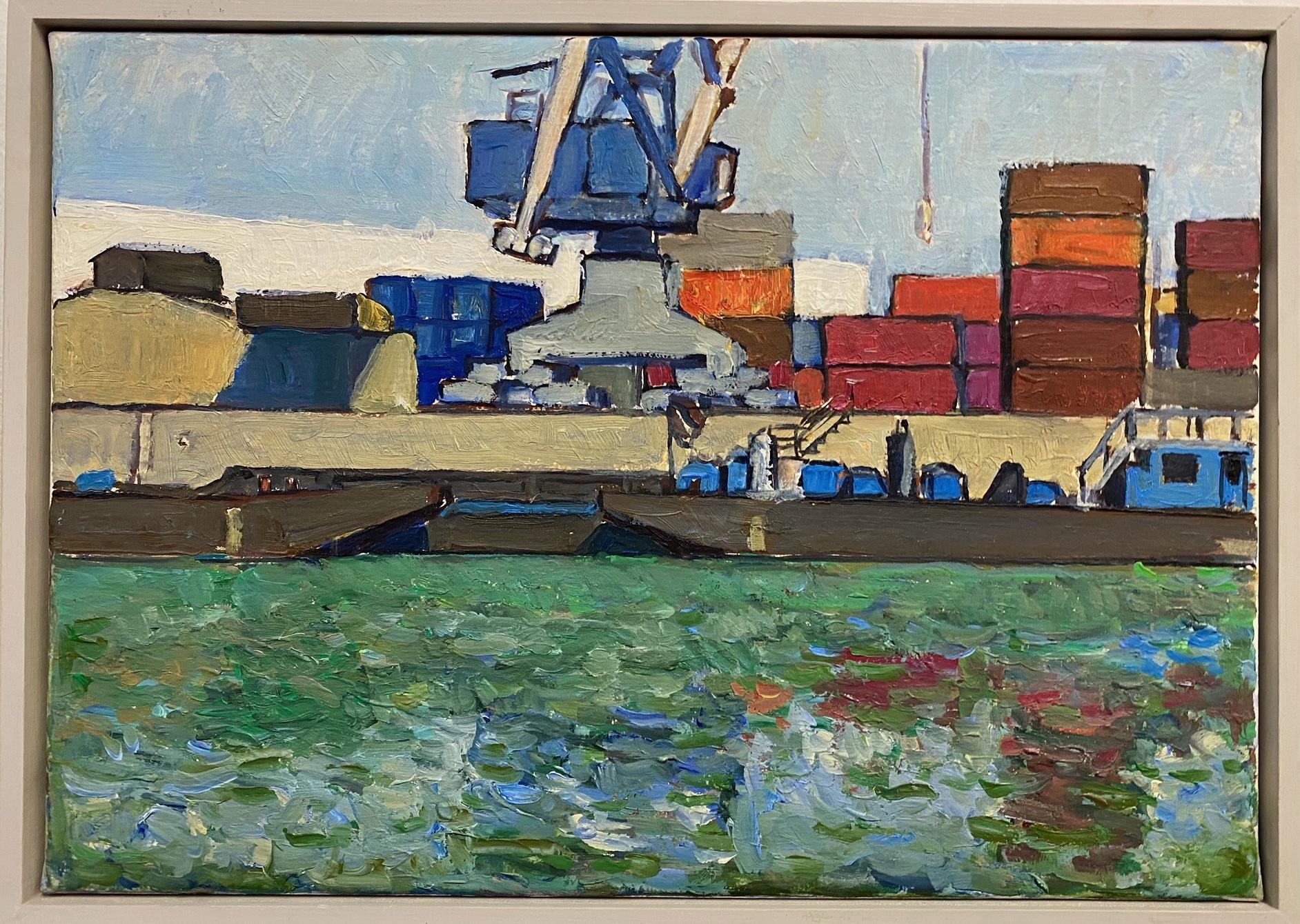 Egli_Freudenauer Hafen II, Öl auf Leinwand, 35 x 25 cm, 2010