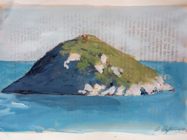 Dapino_Isola della Liguria_Aquarell auf antiker Buchseite