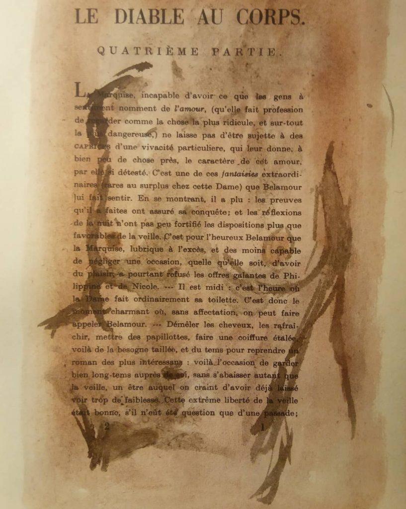 Dapino_nudo1_Aquarell auf antiker Buchseite